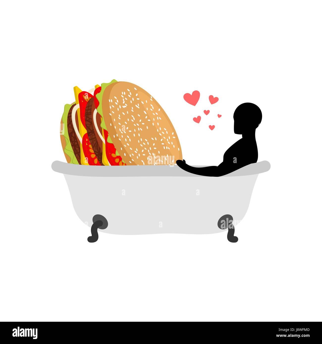 Liebhaber Fast Food Mann Und Hamburger Im Bad Guy Und Burger