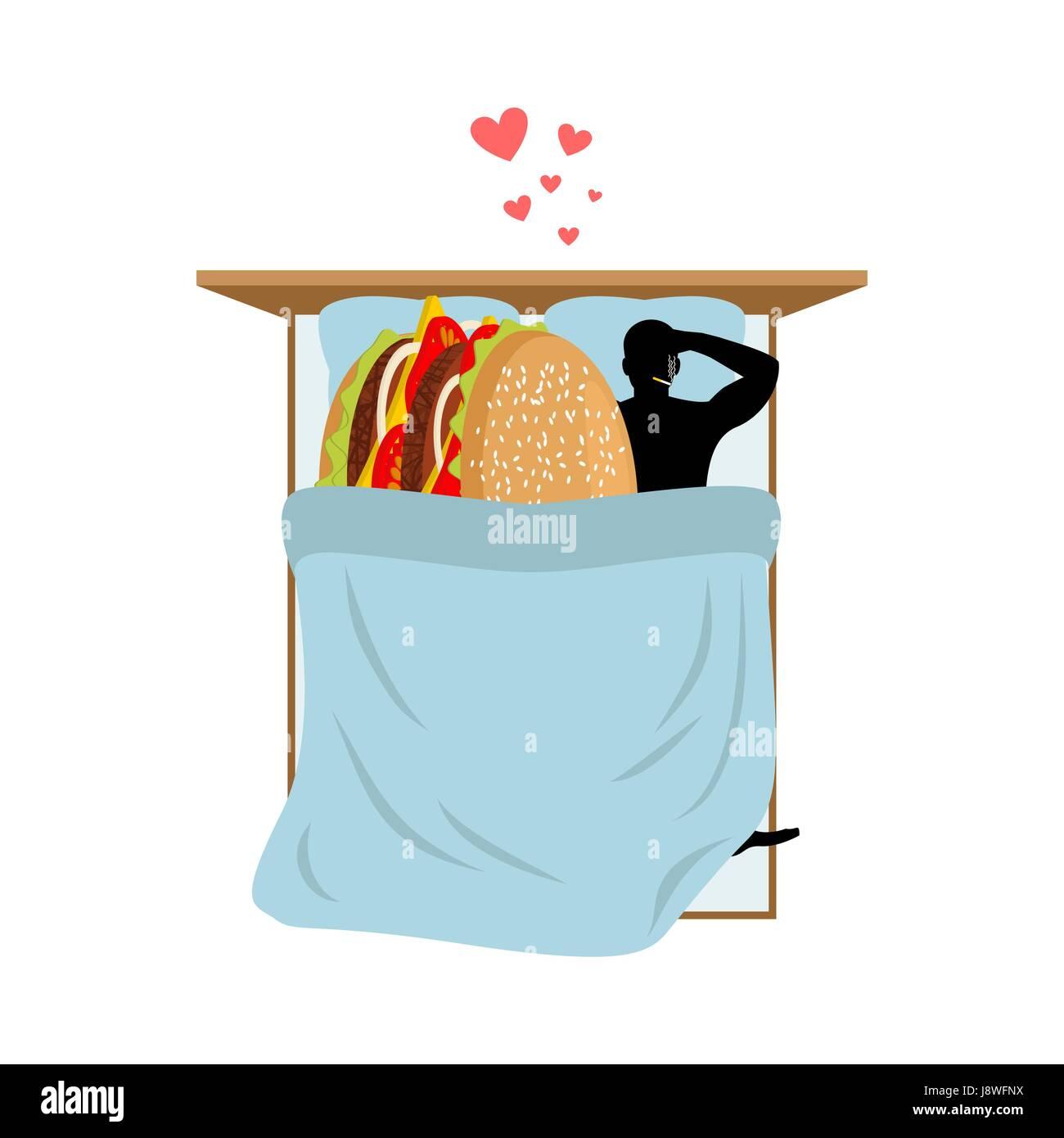 Liebhaber Fast Food Mann Und Hamburger Im Bett Guy Und Burger