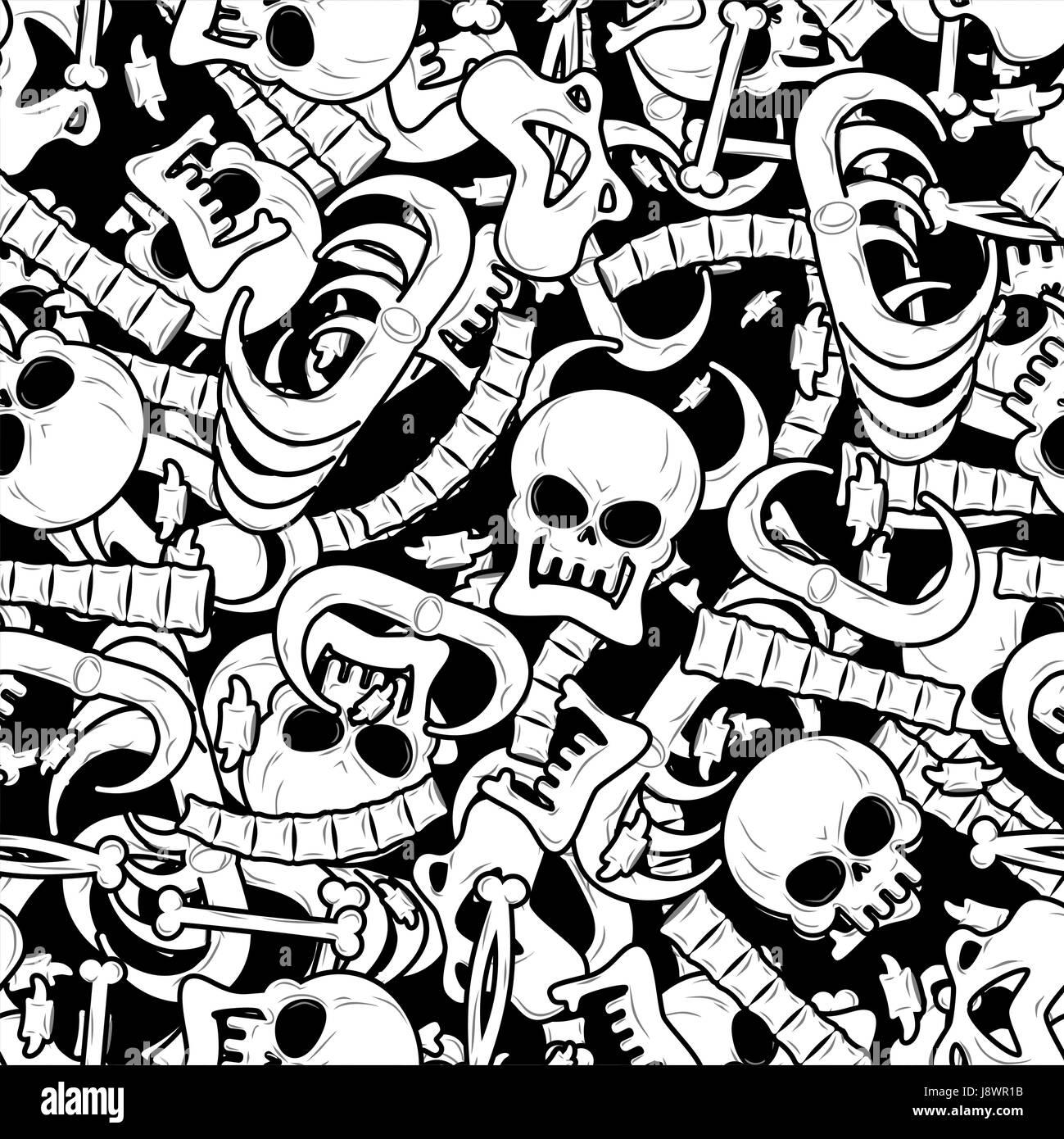 Nahtlose Muster Knochen. Skelett Hintergrund. Totenkopf Schmuck ...