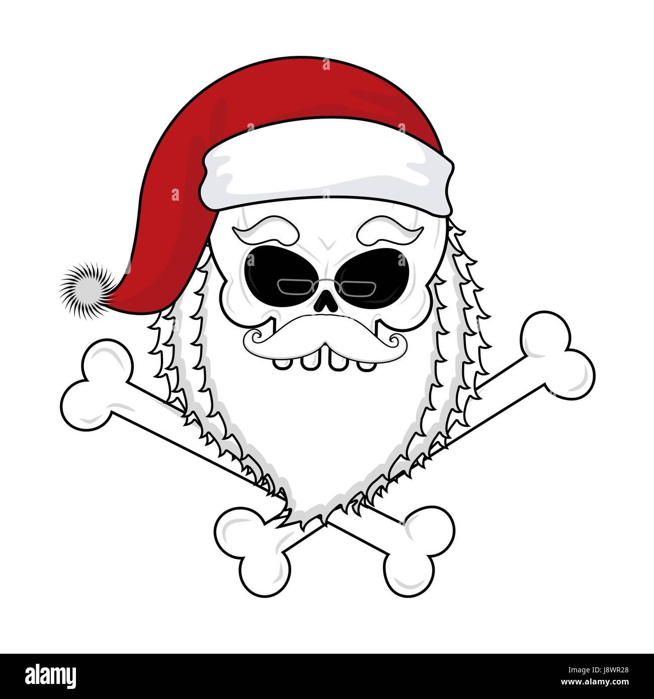 Santa Claus Schädel. Tod-Weihnachten. Skelett Kopf in rote ...