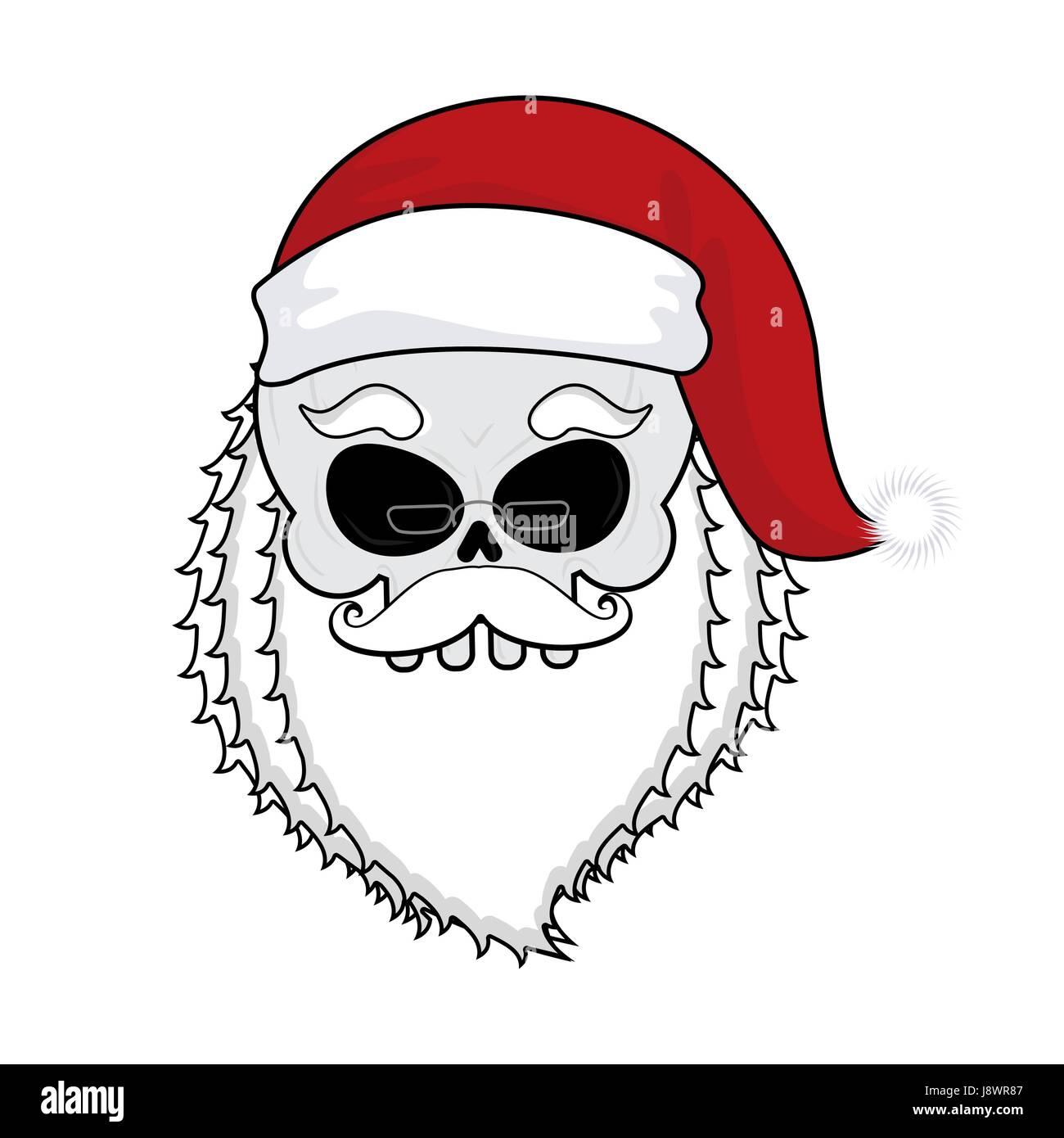 Santa Schädel. Skelett Kopf in rote Weihnachtsmütze. Tod-Weihnachten ...