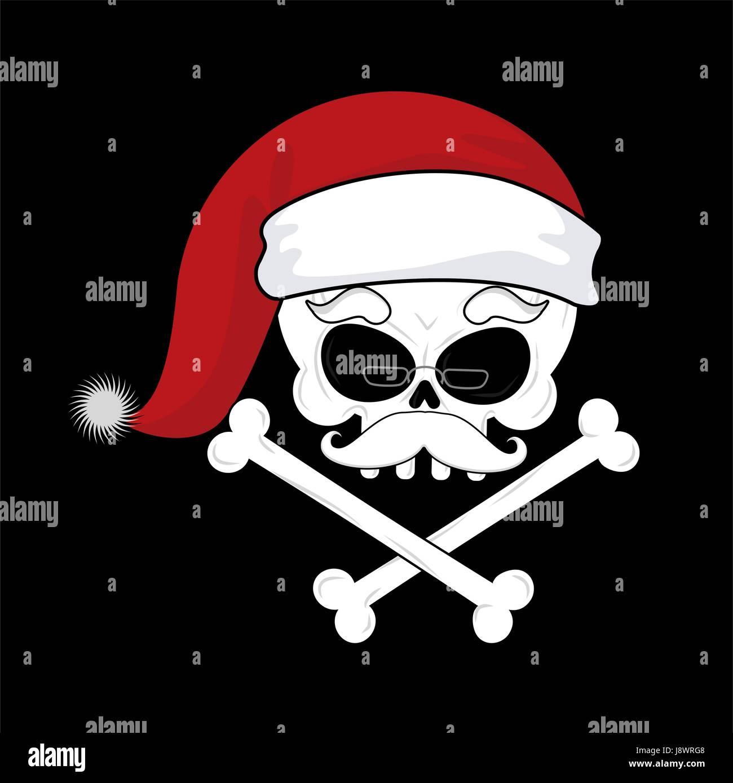 Santa Claus Tod. Weihnachten-Schädel. Skelett Kopf in rote ...