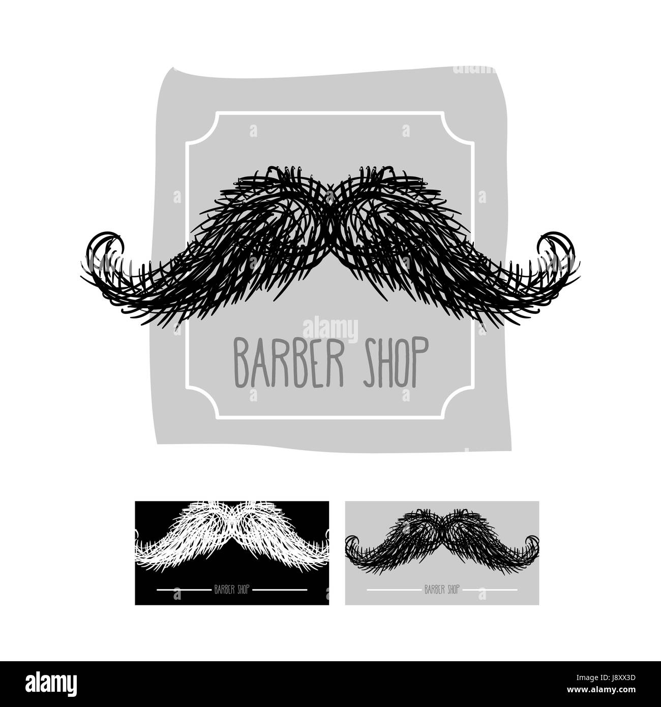 Barber Shop Logo Emblem Mit Einem Schnurrbart Vektor