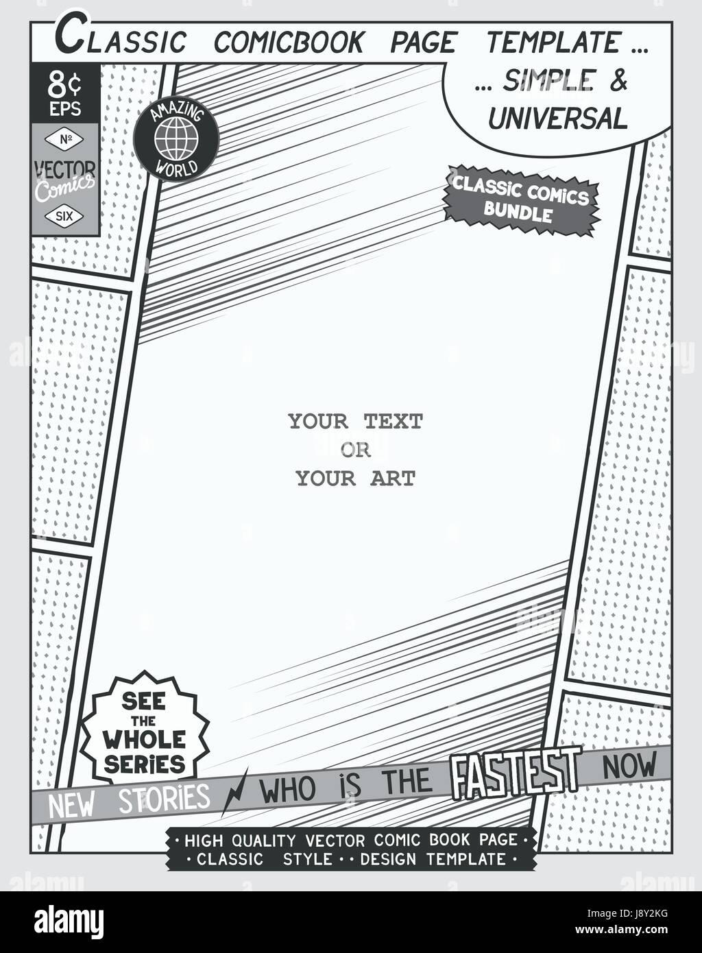 Freiraum-Comic-Buch-Seitenvorlage. Comics-Layout und mit Speed ...