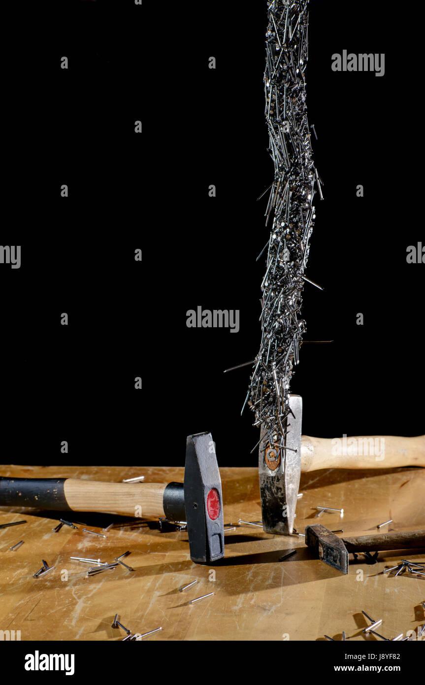 werkzeug, drop, nagel, abreißen, schlitten, hammer, hammer, viele