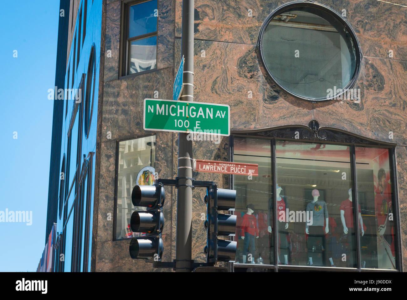 Chicago Illinois in der Nähe von Seite North Magnificent Mile ...