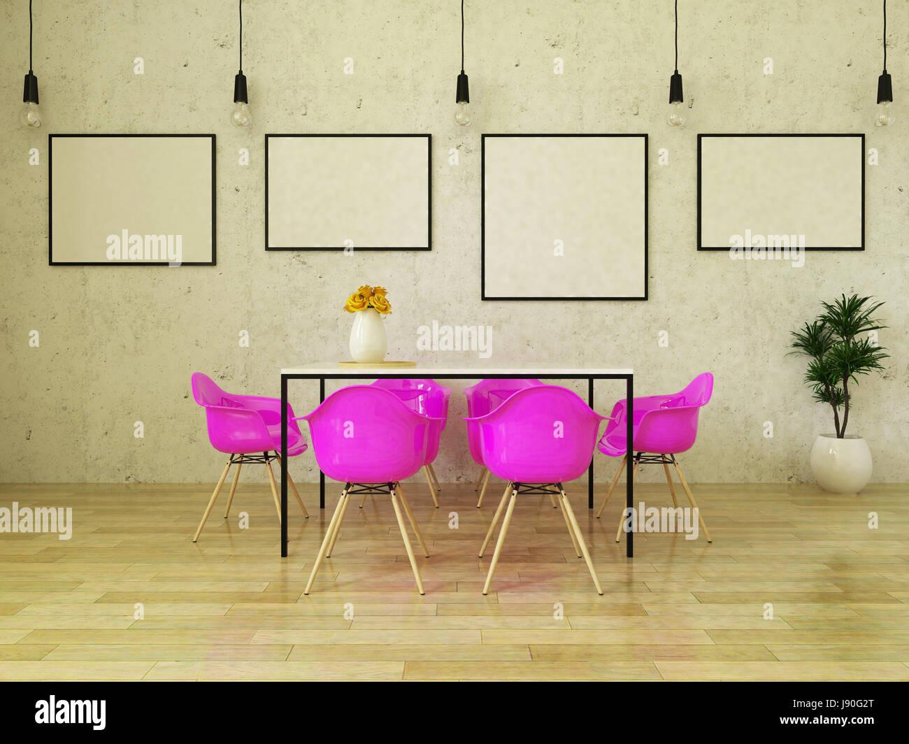 Schöner Esstisch mit rosa Stühle auf Holzboden vor einer Betonwand ...