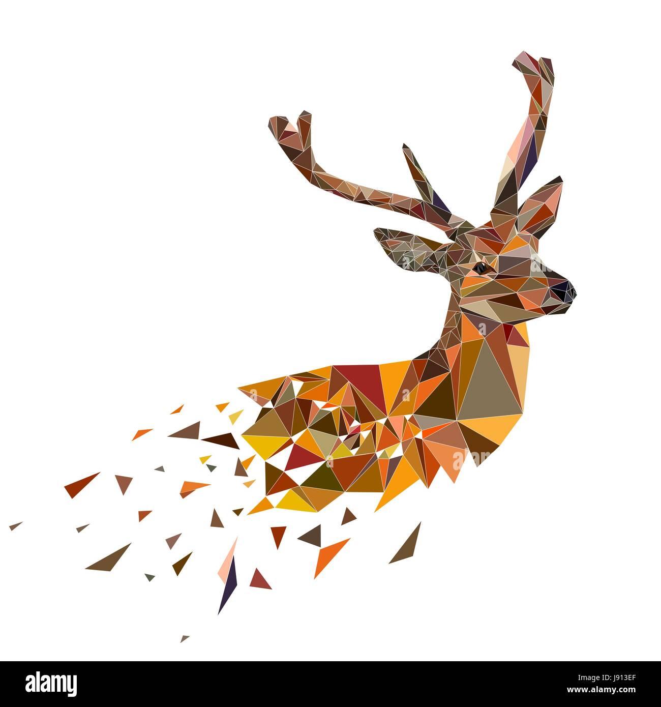 Multicolor Hirschkopf mit Hörnern. Vektor-Illustration in polygonale Stil. Stockbild