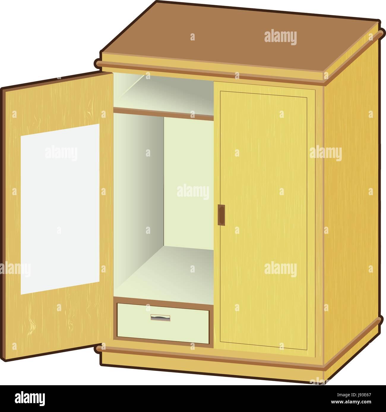 Offene Garderobe Holzschrank Mit Ordentlich Kleidung Vektor