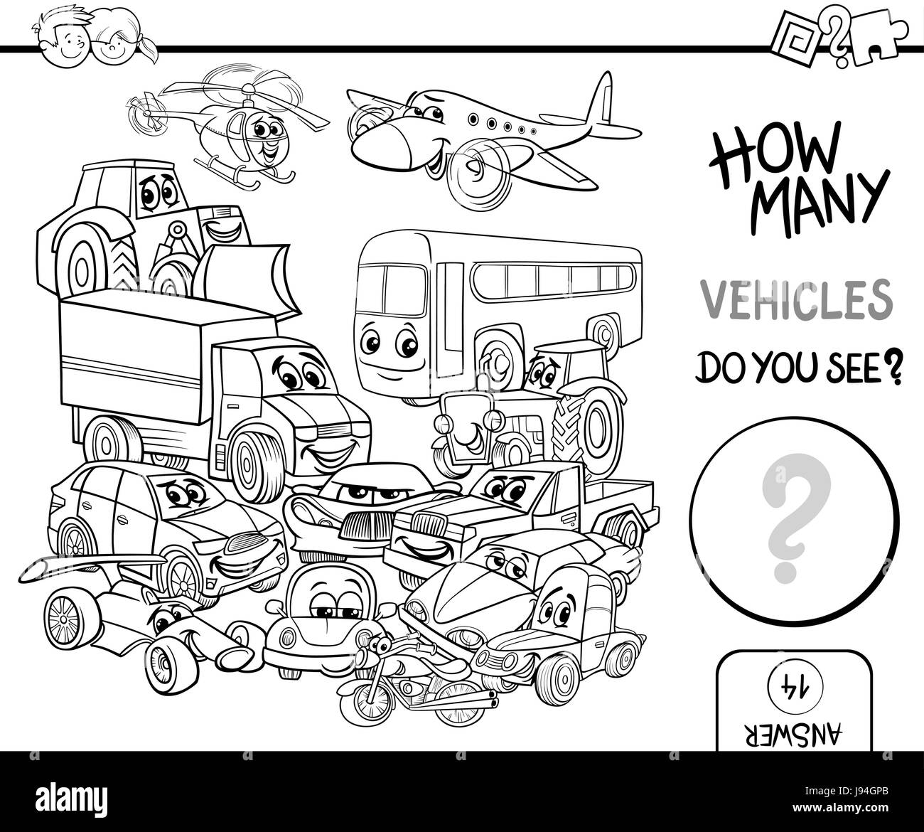 Schwarz / Weiß Cartoon Illustration zählen pädagogische Aktivitäten ...