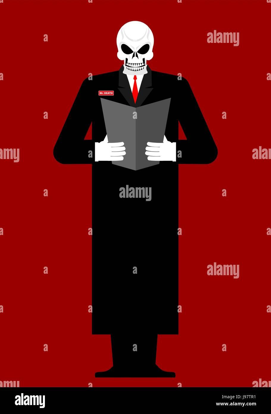 Herr Tod. Skelett in einem schwarzen Mantel. Lesevorgänge letzten Willen und Testament. Vektor-illustration Stock Vektor