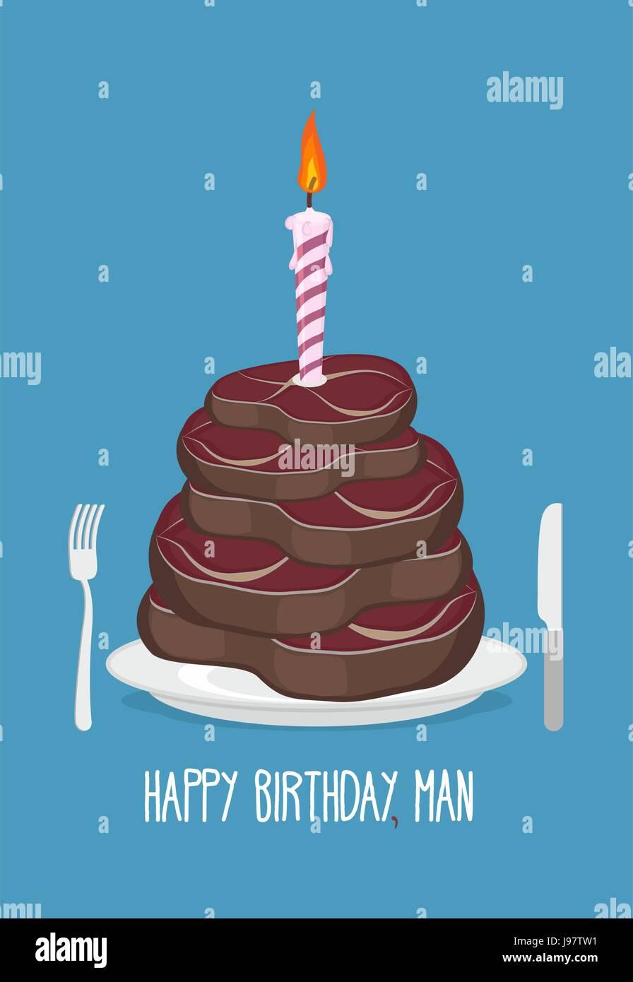 Kuchen Fleischstucke Alles Gute Zum Geburtstag Mann Leckere Steaks