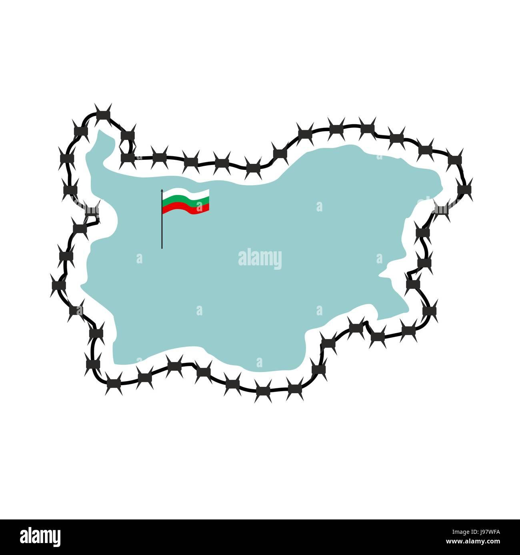 Karte von Bulgarien. Karte der Staaten mit Stacheldraht. Land ...