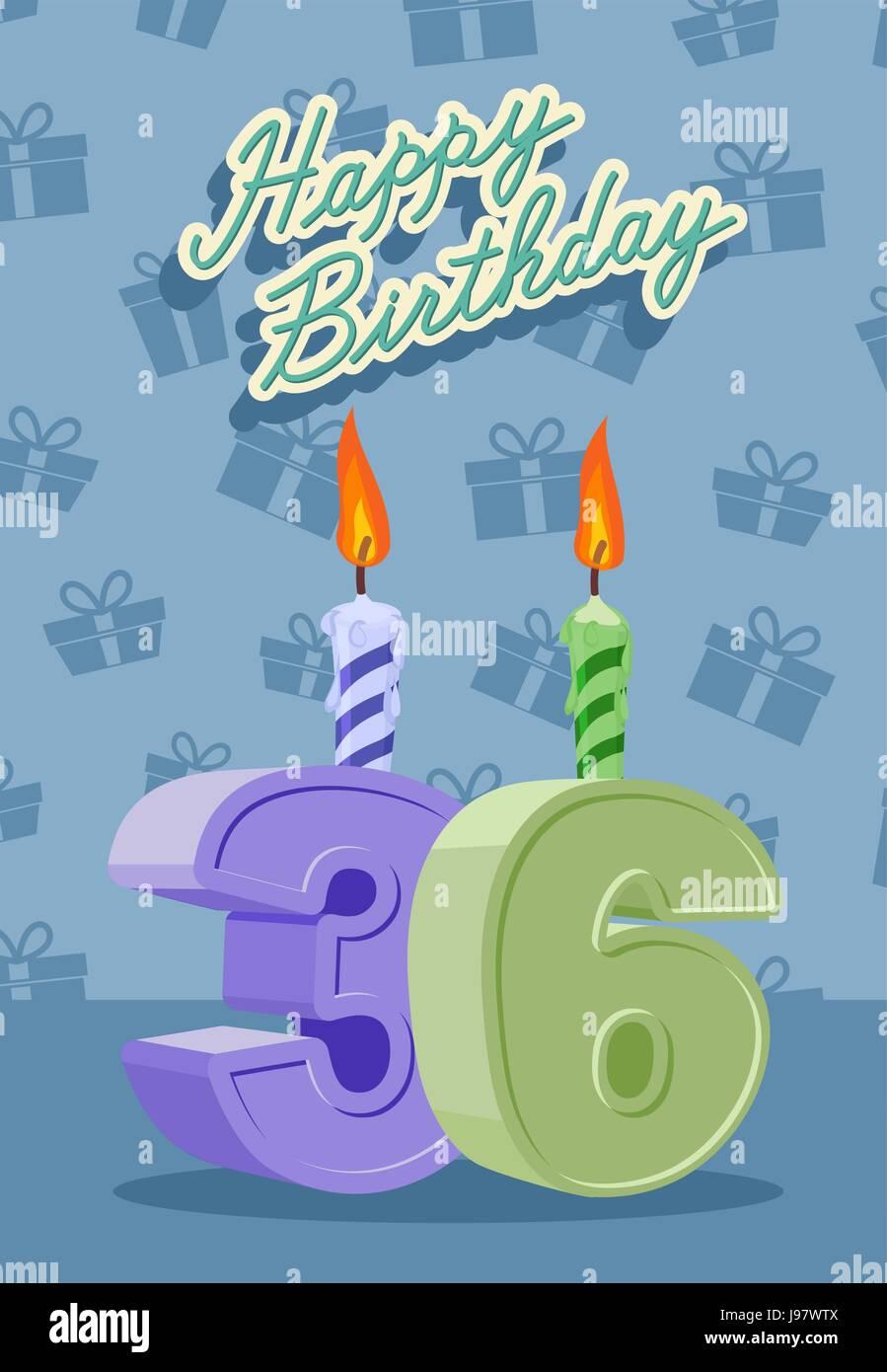 Alles Gute Zum Geburtstagskarte Mit 36 Geburtstag Vektor Abbildung