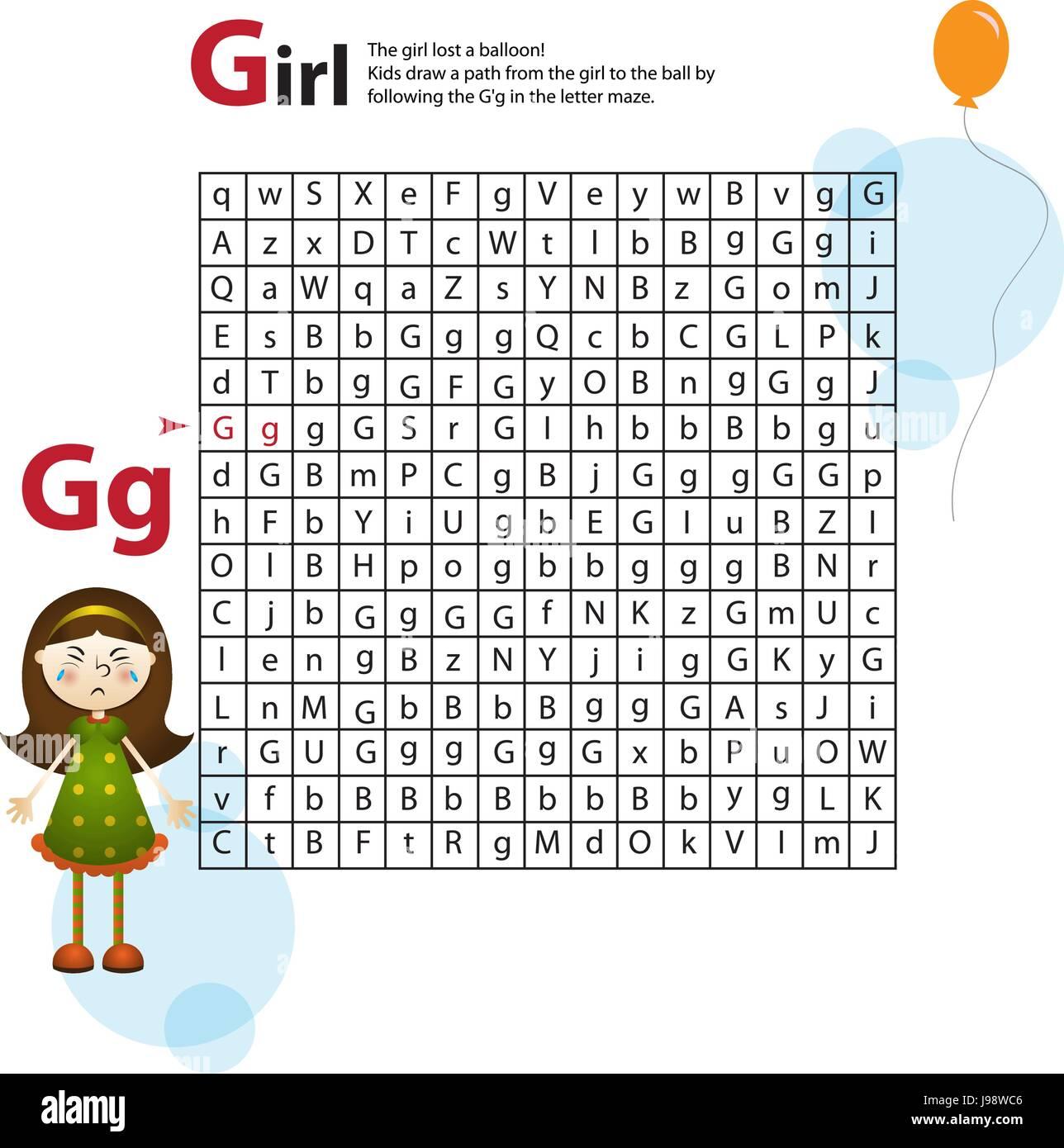 Labyrinth der Buchstaben G. Dieses Arbeitsblatt hilft Kindern ...
