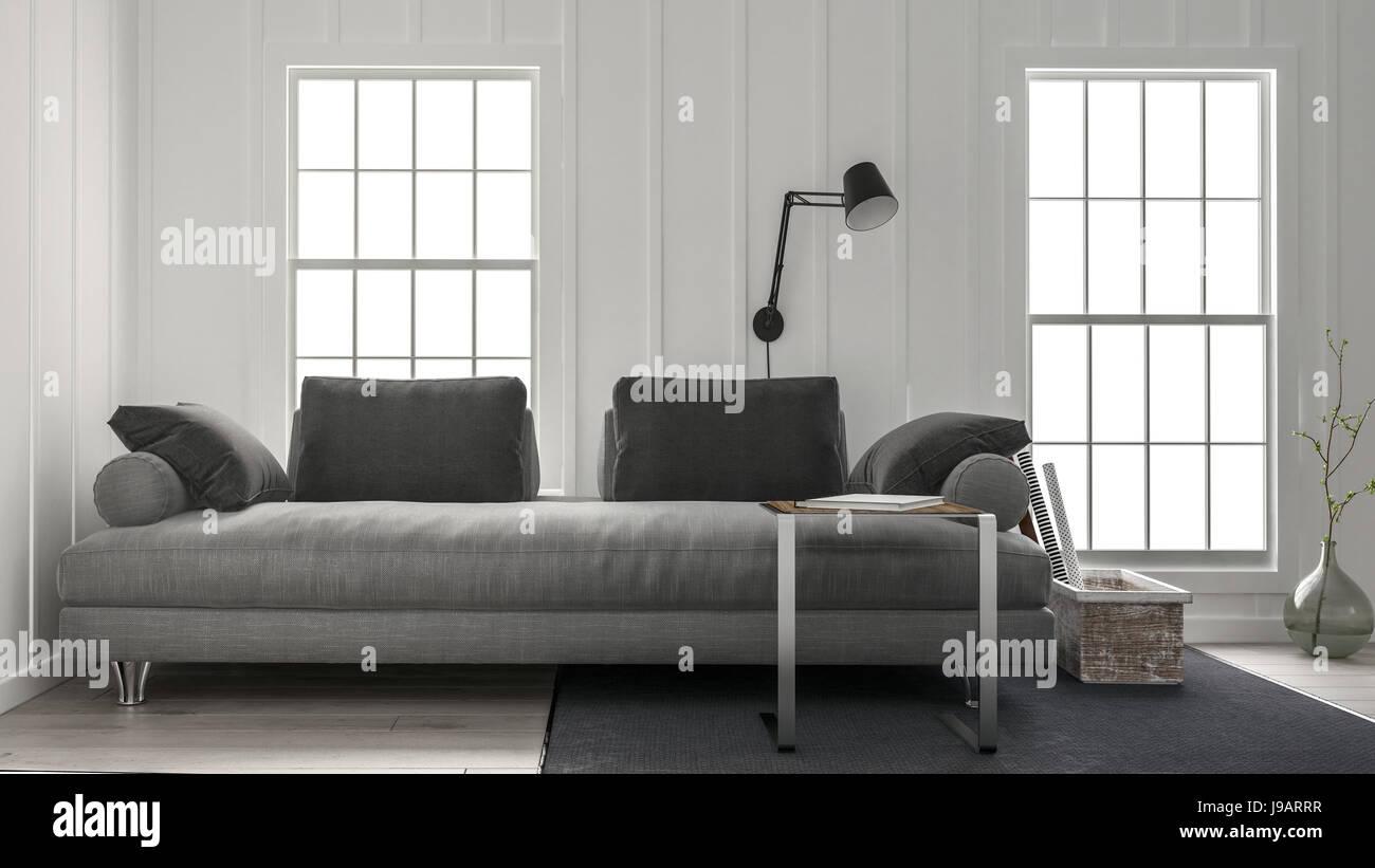 Große Graue Couch In Minimalistischem Design Wohnzimmer Mit Schwarzer Lampe  An Der Wand Zwischen Zwei Fenstern. 3D Rendering