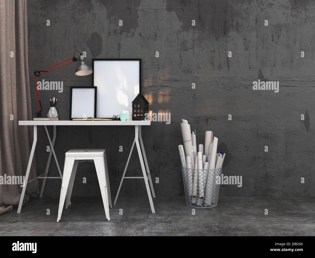 Einfachen Schreibtisch mit leeren Bilderrahmen und eine brennende ...