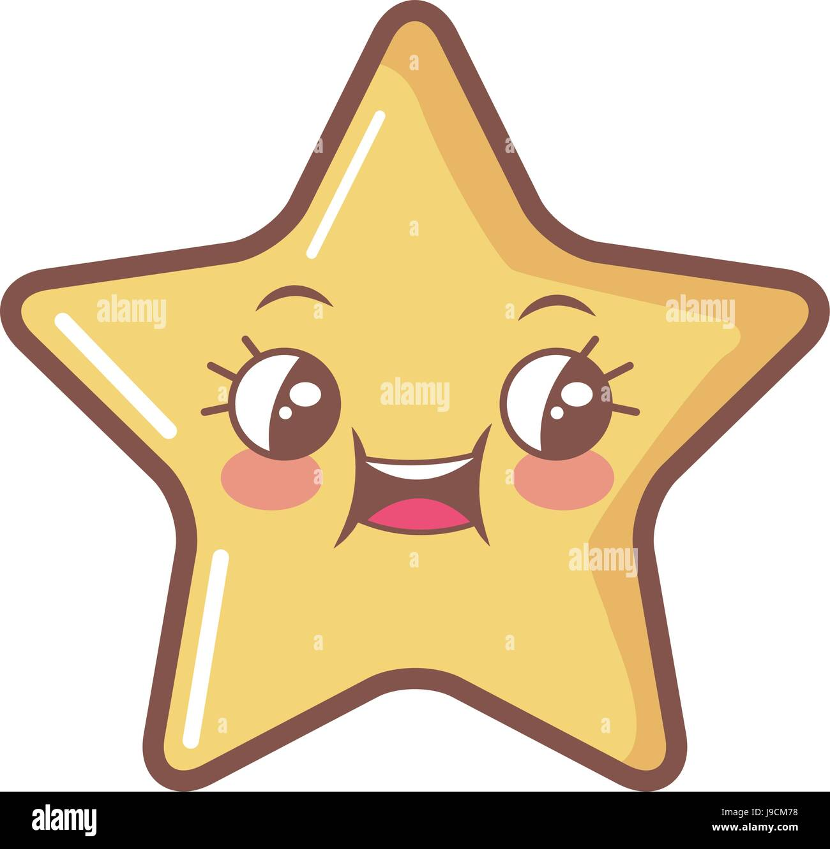 Kawaii-Sterne lustige Cartoon-Charakter-Symbol Stockbild