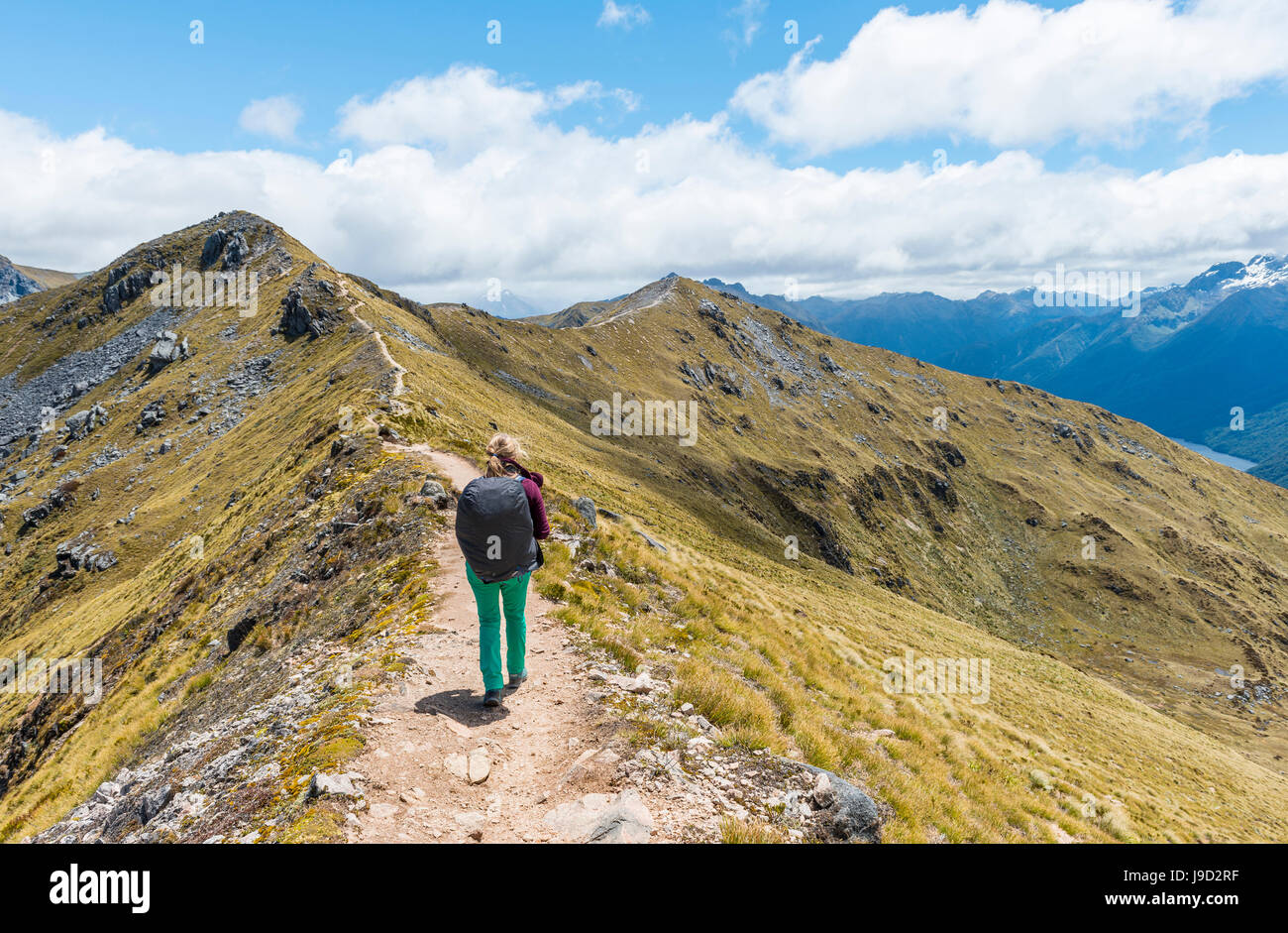Weibliche Wanderer auf Kepler Track, Fiordland-Nationalpark, Southland, Neuseeland Stockbild