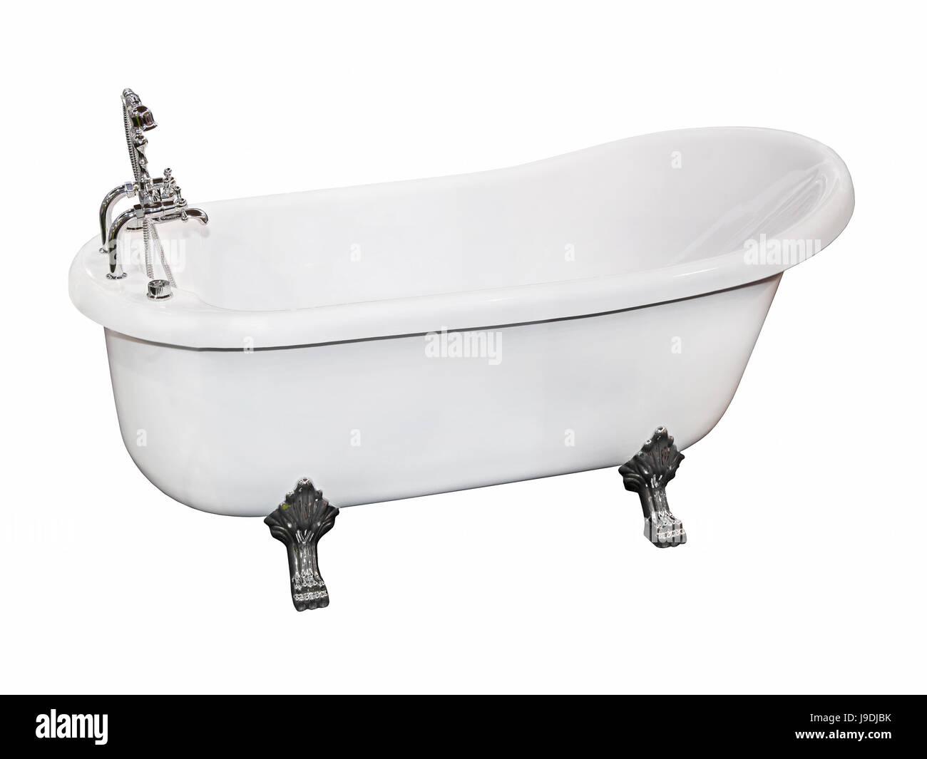 Isoliert Vintage Bad Wanne Wanne Badewanne Retro Armatur Weiss