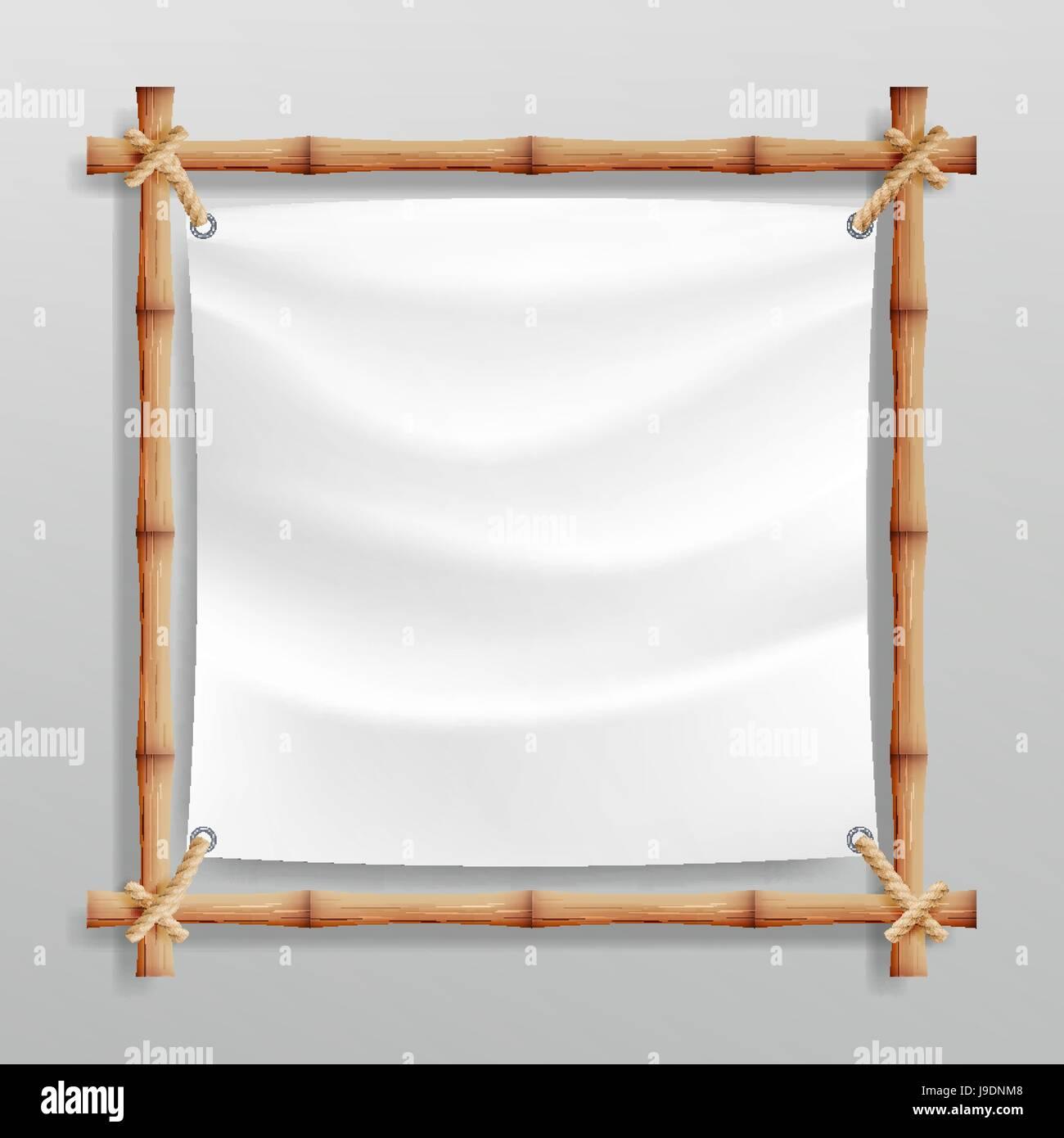 Bambus-Rahmen-Vektor mit weißen Leinwand. Holzrahmen von ...