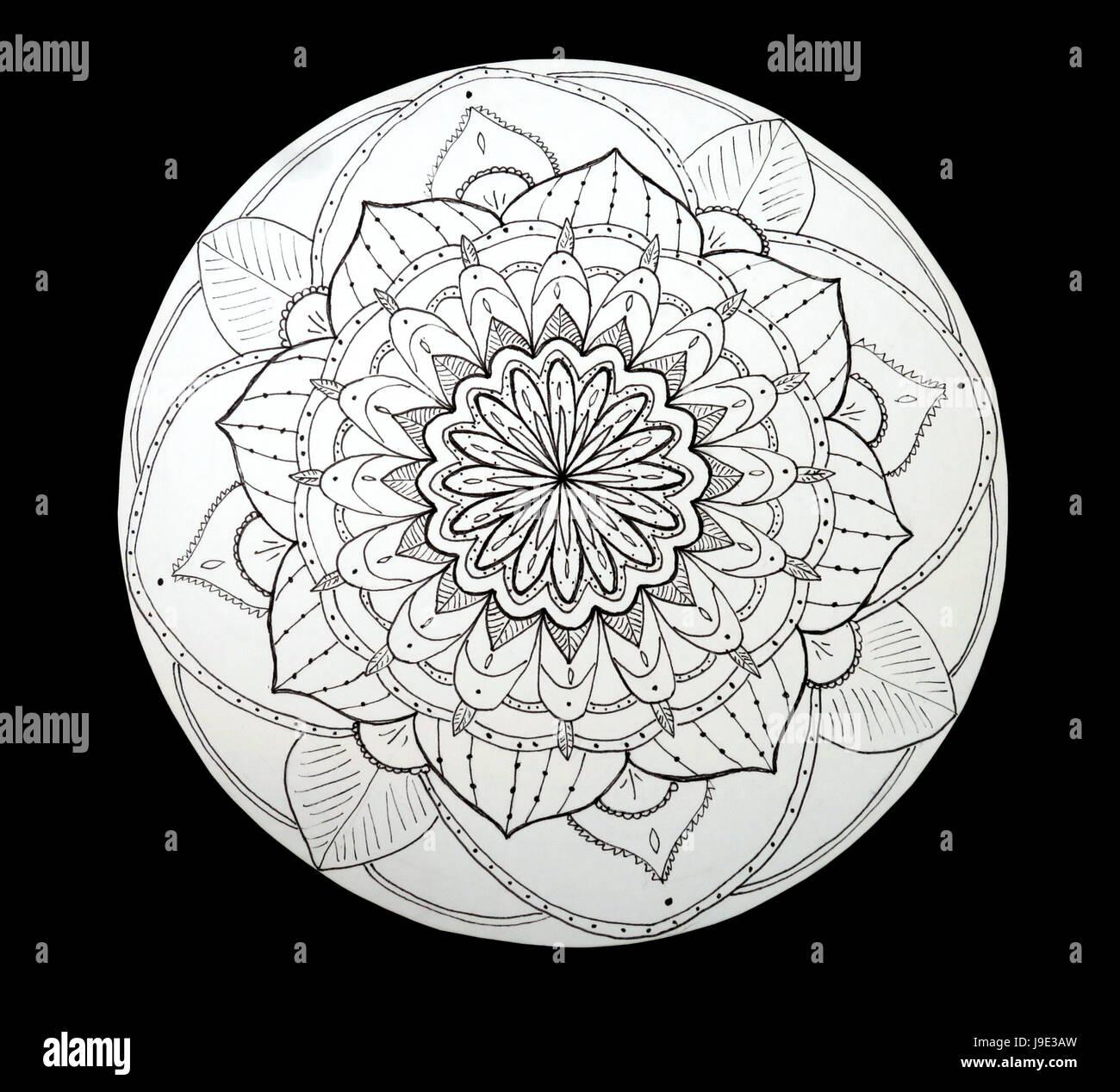 Dekorative Blume Mandala Gemalt Schwarz Und Weiß Stockfoto Bild
