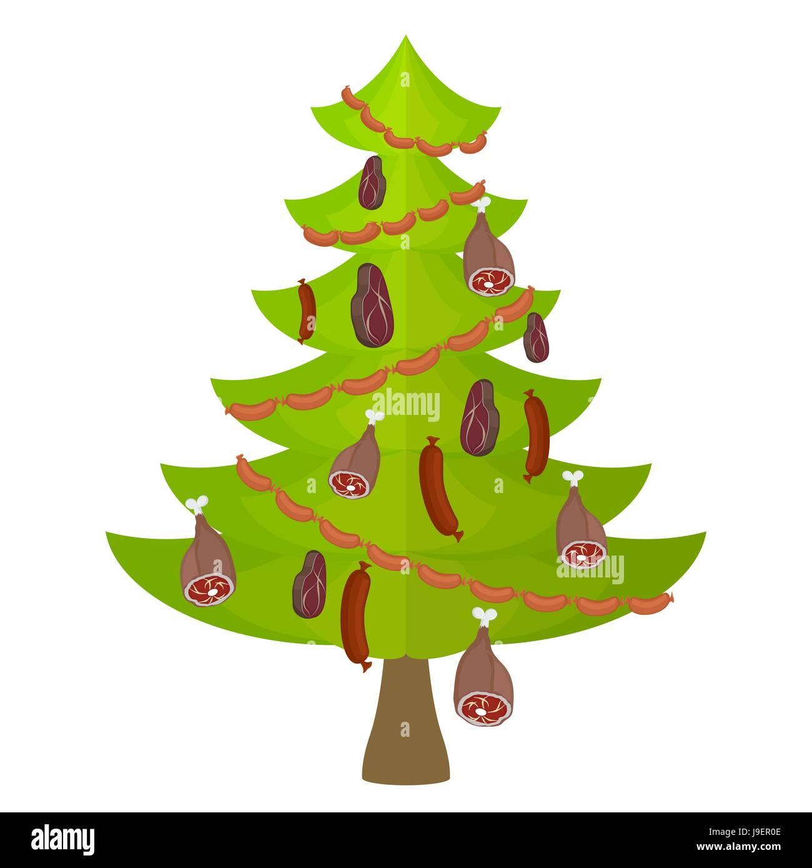 Weihnachtsbaum Kaufen Essen.Baum Fleisch Essen Und Delikatesse Weihnachtsbaum Geschmückt Mit