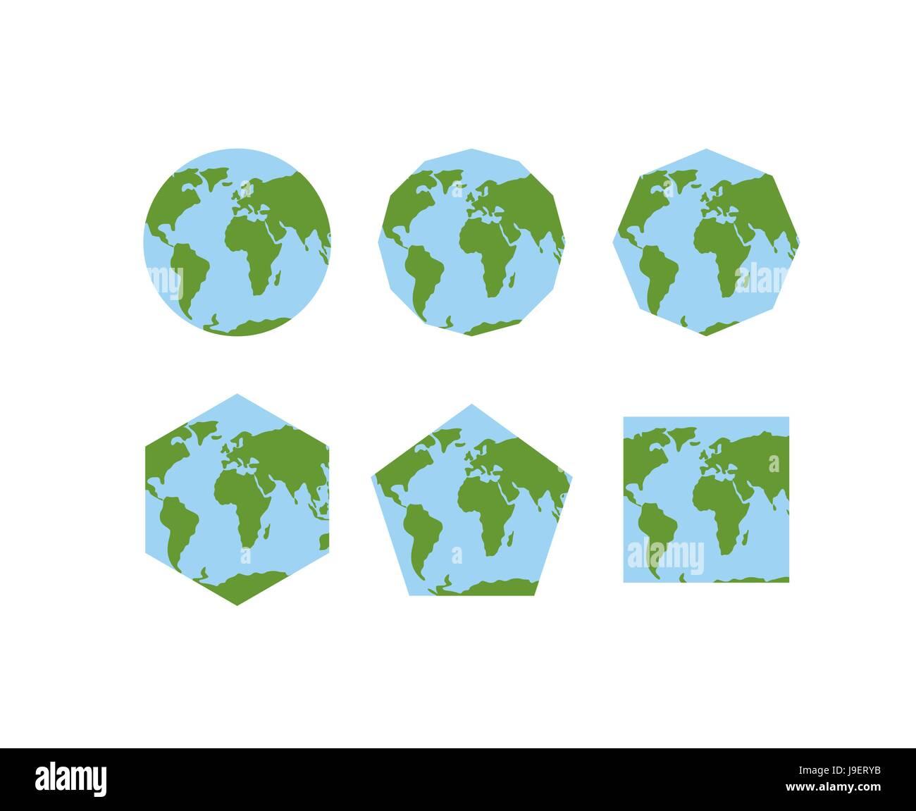 Erde Karte Rund.Reihe Von Geometrischen Formen Der Welt Atlanten Karte Des