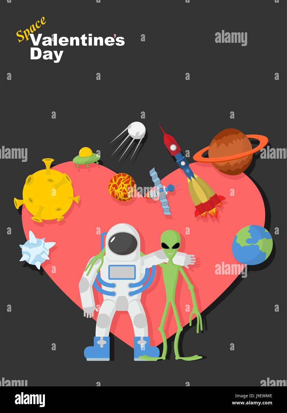 Astronaut Und Alien Freunde Valentinstag Im Raum Herzsymbol Mit