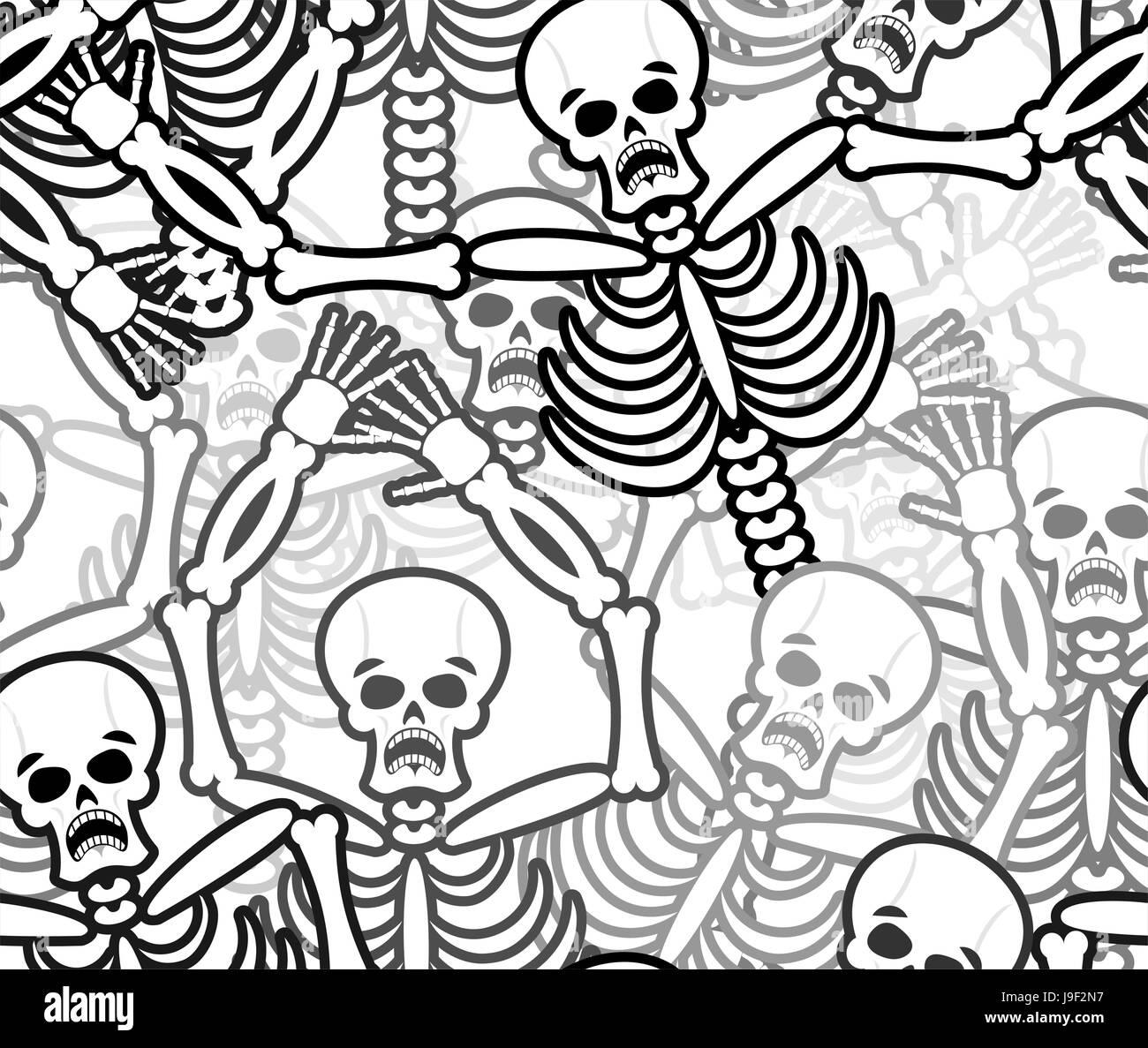 Sünder Musterdesign. Skelett in Hölle Hintergrund. Schmuck der Toten ...