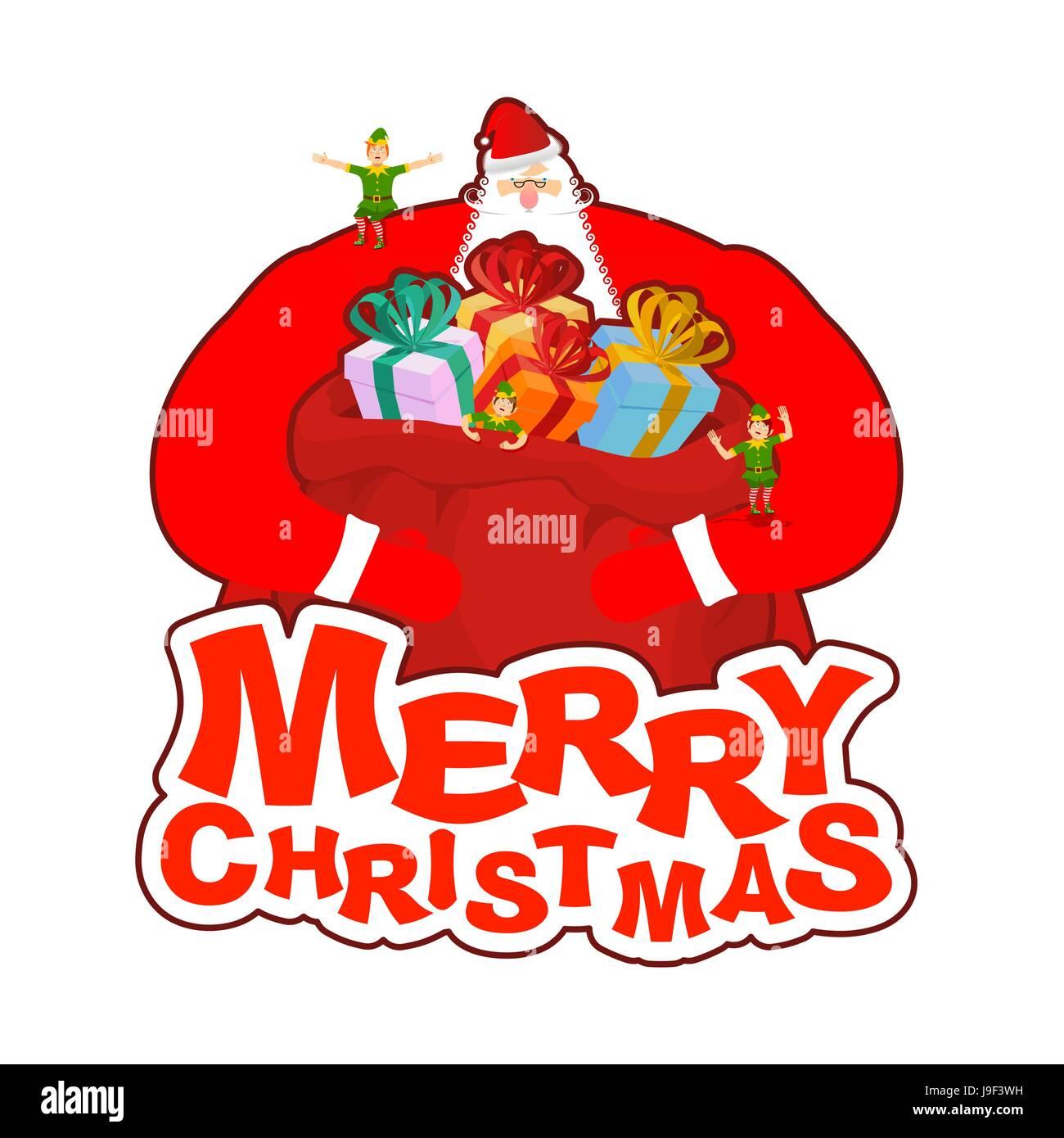 Frohe Weihnachten. Santa Claus und Tasche und Elf Helfer. Neues Jahr ...