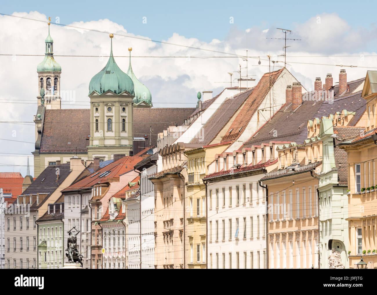 Historischen Schlauch Fassaden in Augsburg (Bayern, Deutschland) Stockbild