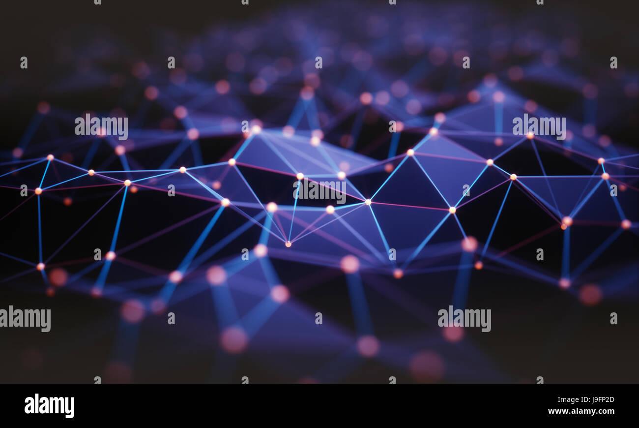 3D Illustration. Zusammenfassung Hintergrund, Verbindung und Linien der Technologie. Stockbild