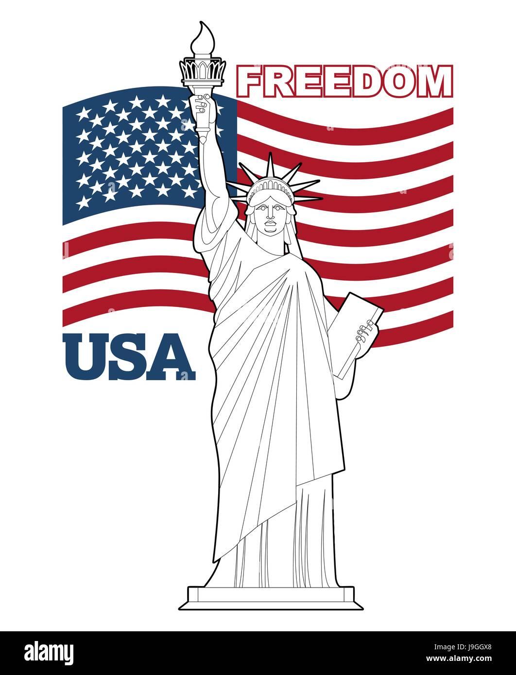 Statue Der Freiheit Und Der Amerikanischen Flagge Symbol Für