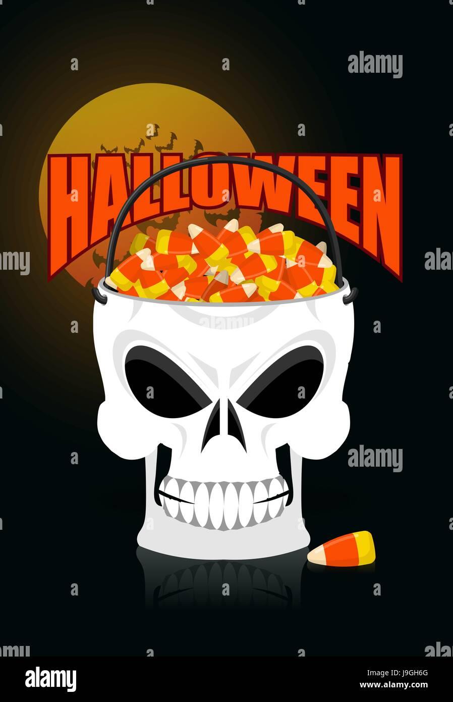 Happy Halloween Schädel Korb Süßigkeitmais. Süßes oder Saures ...