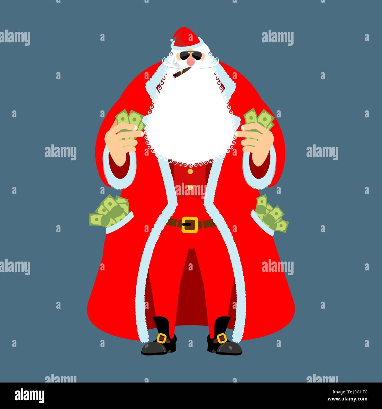 Rich Weihnachtsmann Und Viel Geld Pocketful Von Bargeld Das