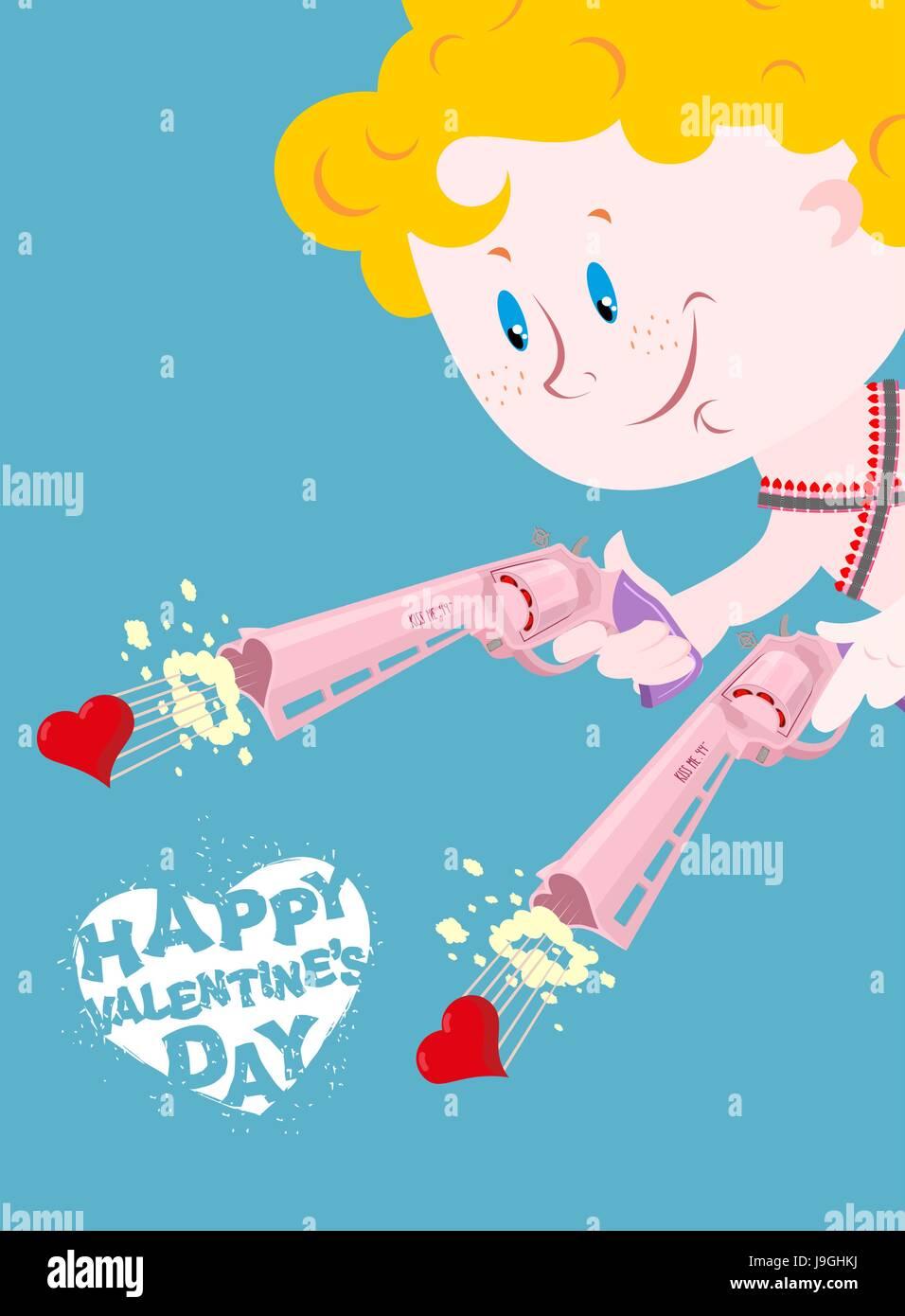 Valentine Happy Valentines Day Amor Und Colt Zwei Pistolen Der