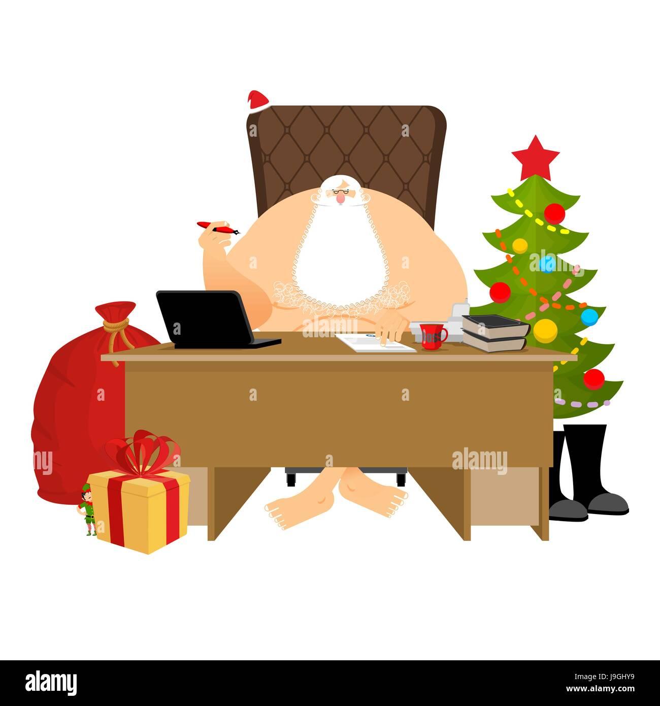 Santa Claus Residenz Weihnachten Chef Im Buro Arbeiten