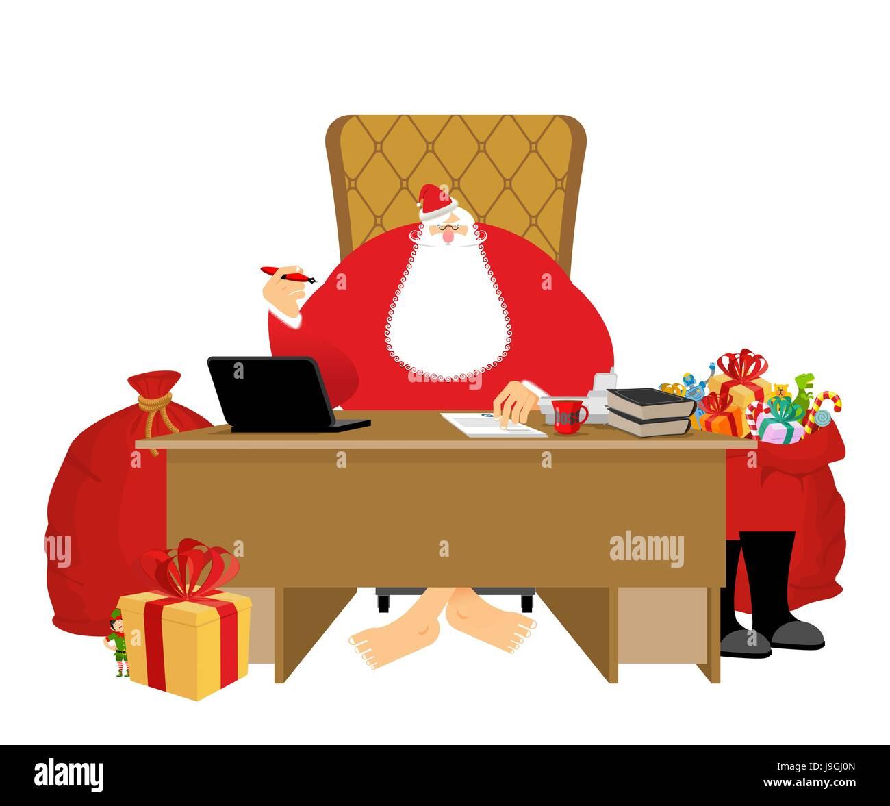 Santa Claus Residenz. Weihnachten-Chef im Büro arbeiten ...