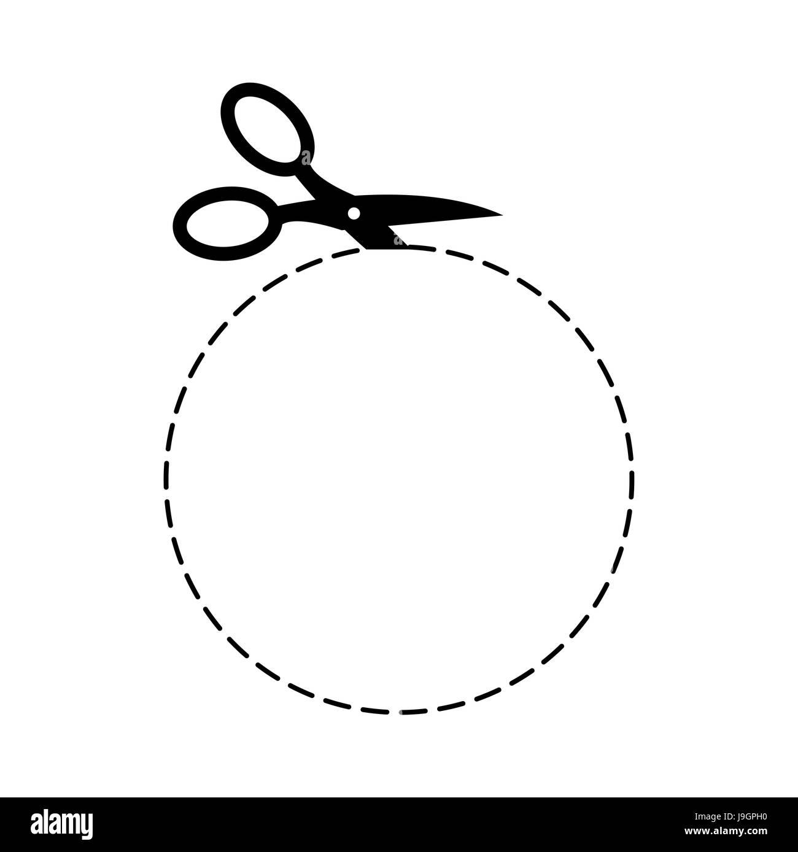 Schere Kreis Vorlage Zeichen. Symbol mit der Schere schneiden Vektor ...
