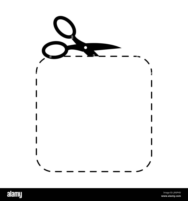 Schere quadratische Vorlage Zeichen. Symbol mit der Schere schneiden ...