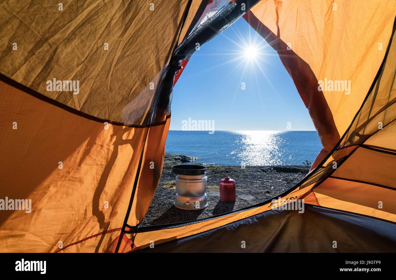 Sonniger Morgen im finnischen Schären, Inkoo, Finnland, Europa, EU Stockbild