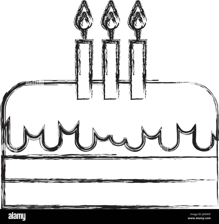 Skizze Zu Zeichnen Cartoon Geburtstag Kuchen Vektor Abbildung Bild