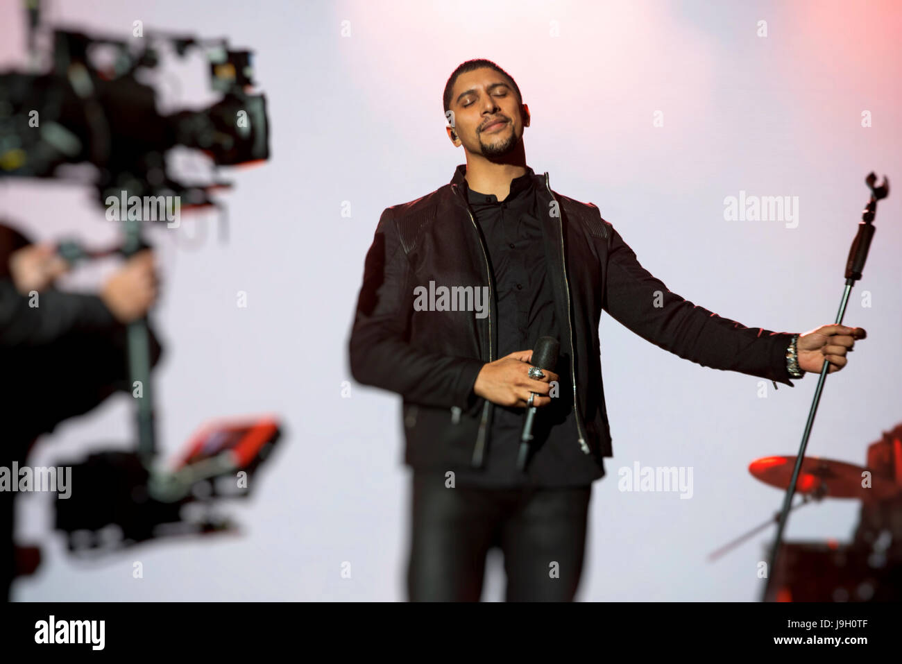 Andreas Bourani auf der ESC After Show Party Stockbild