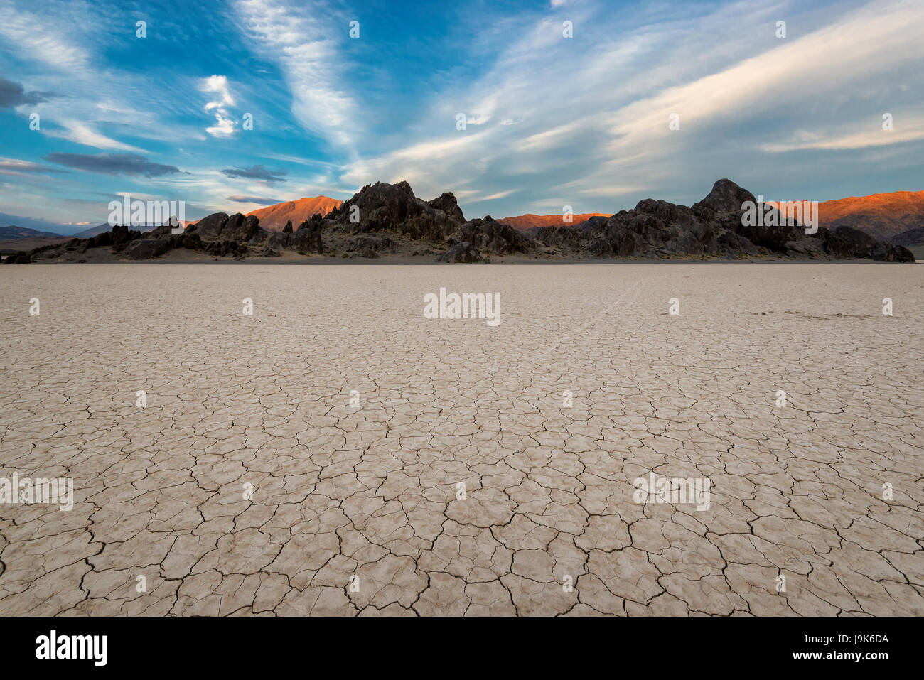 Racetrack Playa in Mojave-Wüste Stockbild