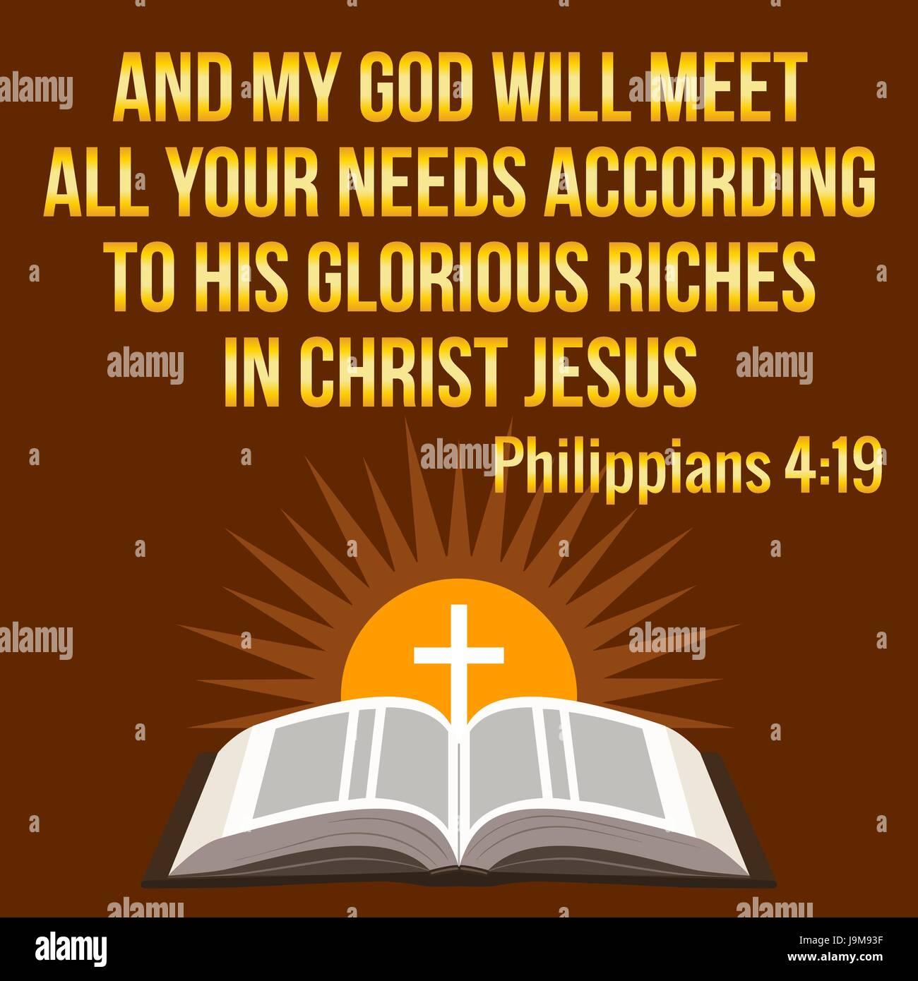 Christliche Motivation Zitat Und Mein Gott Wird All Ihre Bedurfnisse Nach Seinen Glorreichen Reichtum In Christus Jesus Bibel Konzept