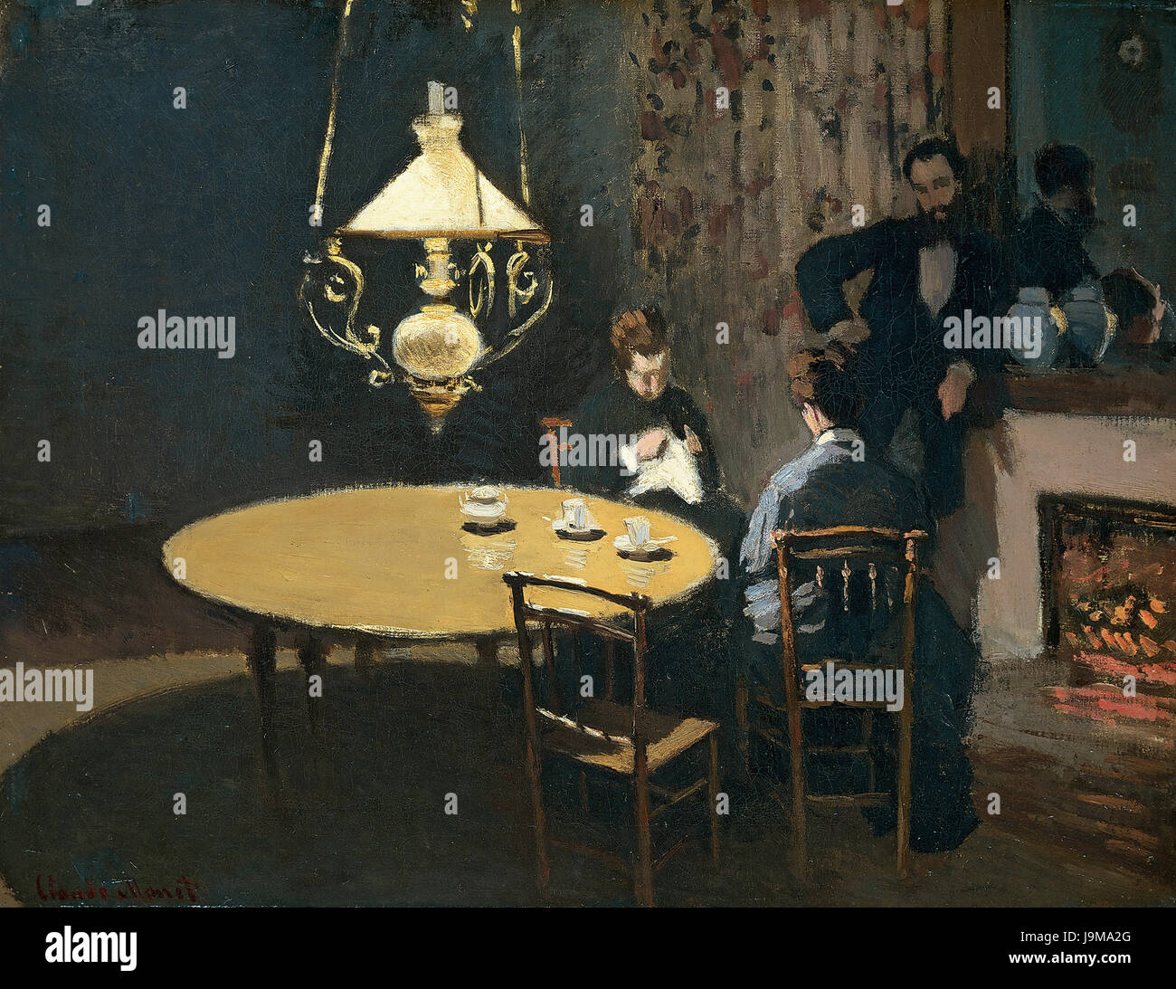 Claude Monet 1868 69 Interieur apres-diner Stockbild