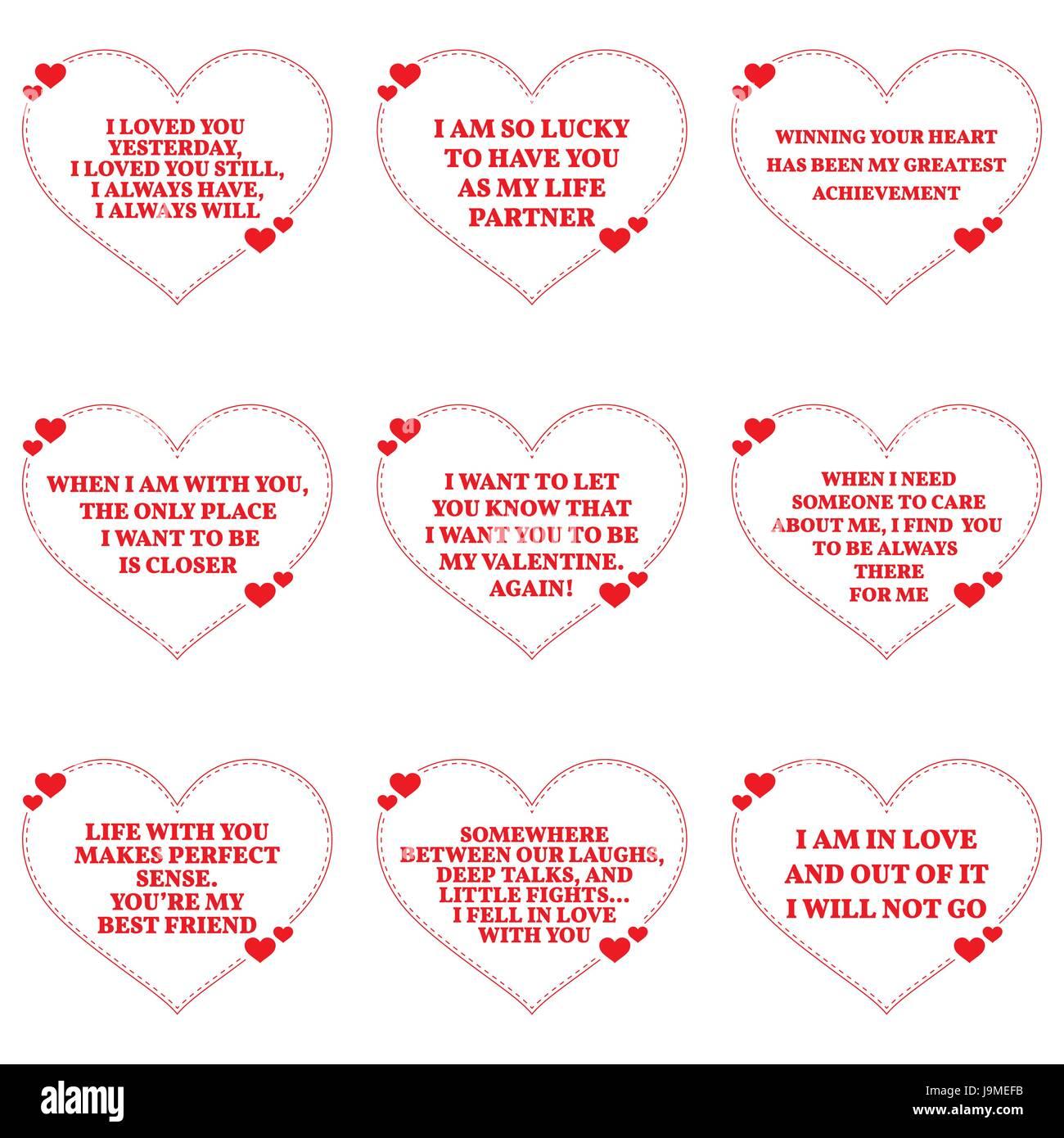 Set Von Liebe Wünsche Zitate Auf Weißem Hintergrund