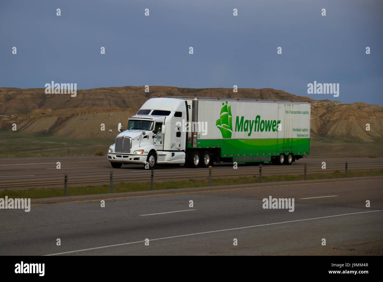 """Eine weiße Kenworth Lastwagen zieht einen weißen und grünen """"Mayflower"""" Trailer entlang Stockbild"""