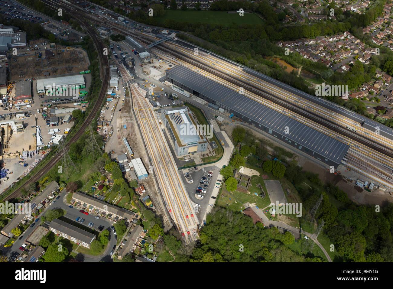 Siemens, drei Brücken Traincare Anlage Website, Crawley, West Sussex ist mehr als 1,4 Meilen in der Länge Stockbild